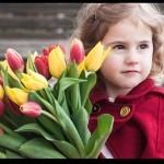 gratidão menina com flores