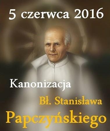Cartaz em polonês anuncia a canonização do beato